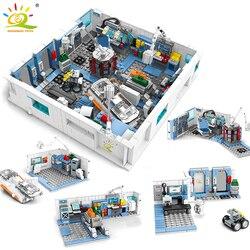 HUIQIBAO 1006 sztuk wędrówki ziemi Aerospace laboratorium stacja kosmiczna klocki miasto naukowiec figurki cegły zabawki dla dzieci