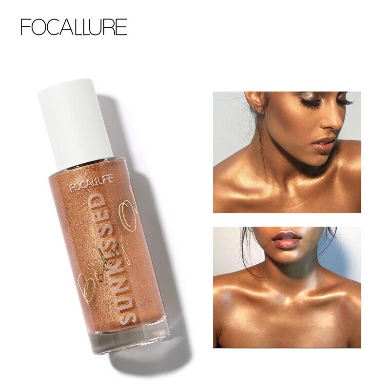 FOCALLURE Flüssigkeit Highlighter Professionelle Glitter Illuminator Bronzer langlebige Wasserdicht Körper Highlighter