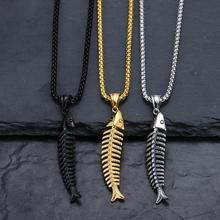 Stainless Steel Necklace Hip Hop Fish Shape Fishbone Pendant Necklace For Women Men Gothic Style Male Pendant Necklace