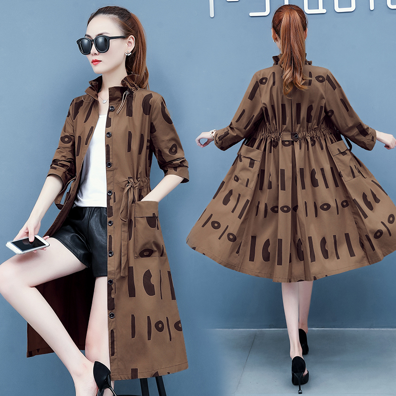 3509Spring Autumn Trench Coat For Women Tie Waist Thin Duster Coat Suncreen Windbreaker Loose Long