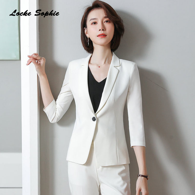 1pcs Women's Plus Size Blazers Coats 2020 Summer Cotton Blend Middle Sleeve Suits Jackets Ladies Skinny Blazers Suits Coats