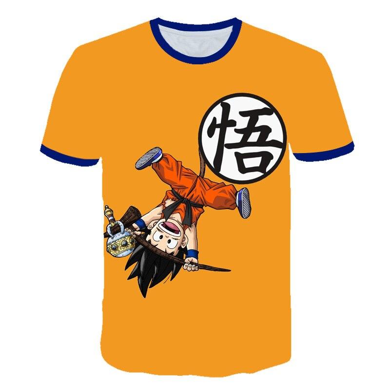 2019 3D Printed Animation Dragon Ball Z Goku Children's T-shirt Short-sleeved Summer Fashion Boy Girl Cool Children's Tops
