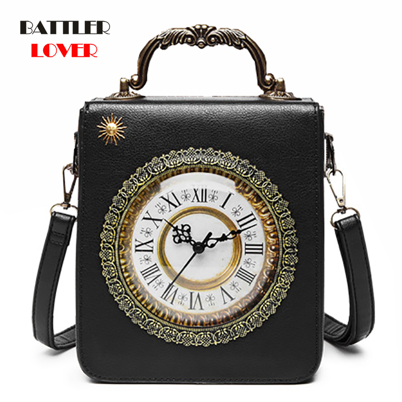 Creative Alarm Clock Package Handbag Women Simulation Retro Watch Fashion Women