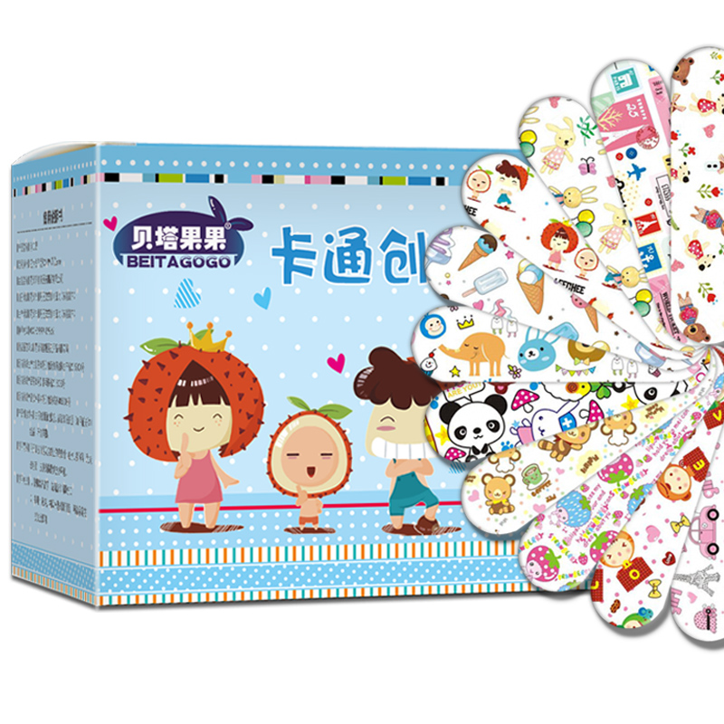<font><b>120PCs</b></font> Cartoon Bandages Adhesive Bandages Wound Plaster First Aid Hemostasis Band Aid Sterile <font><b>Stickers</b></font> for Children Kids image