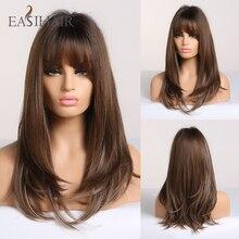 Длинные прямые коричневые парики с эффектом омбре, с челкой, синтетические парики для женщин, повседневные натуральные термостойкие парики для косплея