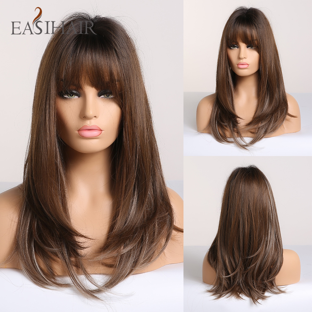 EASIHAIR Long Straight Brown Ombre Wigs With Bangs Synthetic Wigs For Women Daily Natural Cosplay Wigs Heat Resistant