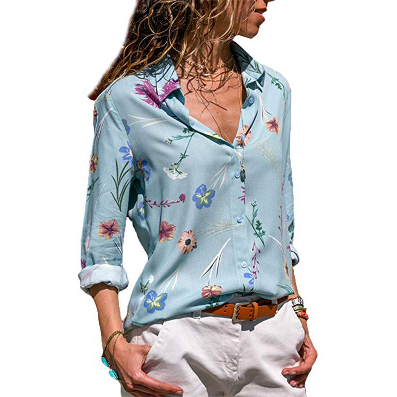 European style v-neck print long sleeve woman blouse elegant spring autumn casual slim print female shirts korean
