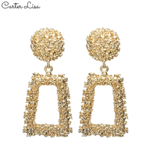 CARTER LISA Fashion fold concave and convex Alloy Drop Earrings For Women exaggerated geometric shape big Dangle Earring Jewelry недорого