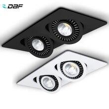 [DBF]360 kąt obrotowy LED COB oprawa wpuszczana kwadrat 10W 14W 20W 24W oświetlenie punktowe sufitu dla obrazu TV tło AC 220V