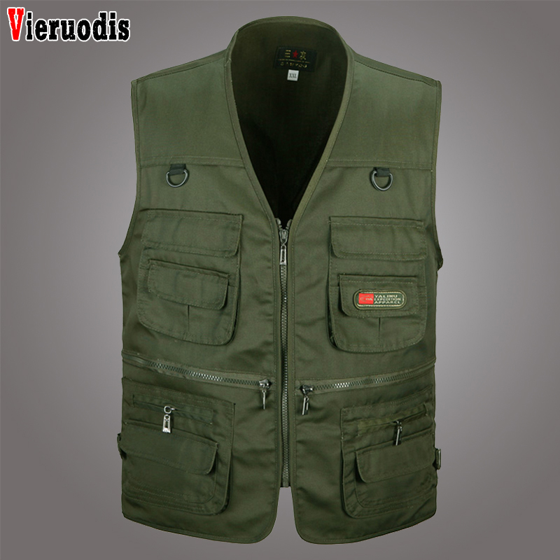 Men Photographer Shooting Outerwear Zipper Waistcoat Sleeveless Solid Jacket Summer New Male Casual Multi Pocket 4 Colors Vest