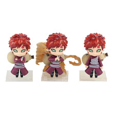 3pcs/set 10cm Anime Naruto Shippuden Gaara Kazekage Cute Mini Q Version Statue PVC Action Figure Collection Model Toys Doll(China)