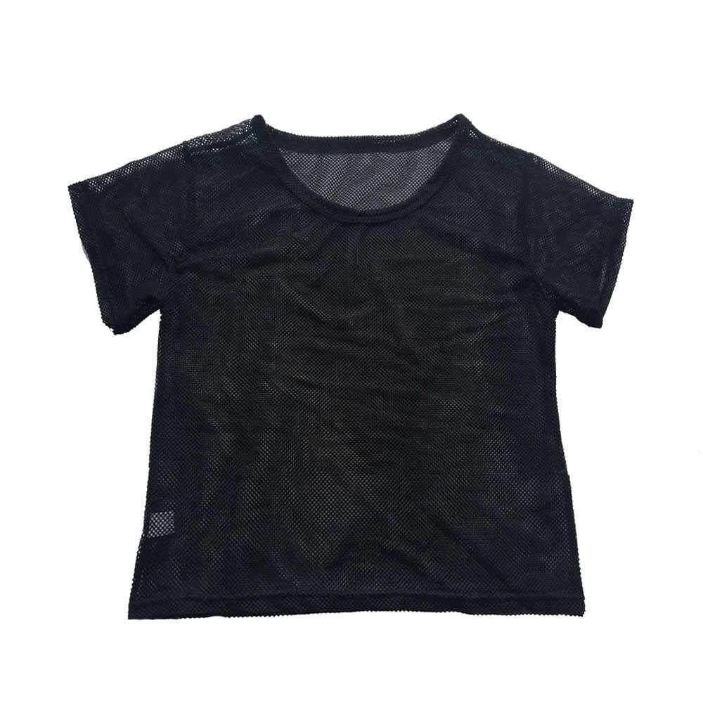 Femmes Sexy voir à travers t-shirts été maille transparente couvrir hauts danse Fitness à manches courtes fond petit haut Femme # X