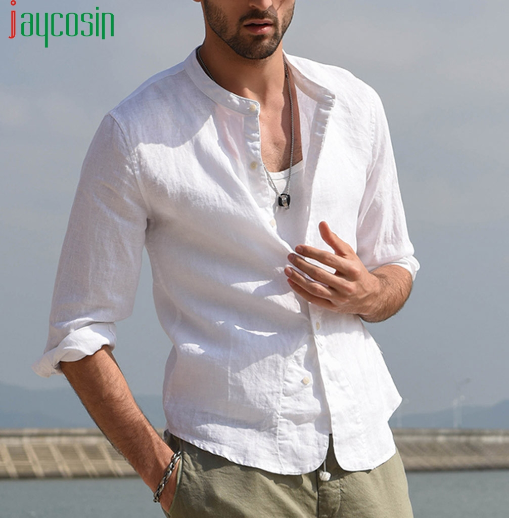 Men Long Sleeve Linen White Shirt Casual Loose Solid Color Beach Shirt Plus Size Mens Clothing Button Stand Collar Fashion Tops