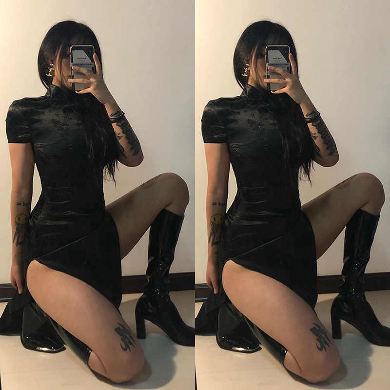 Gothic Zwarte Vrouwen Mandarijn Hals Korte Mouw Slim Side Hoge Split Cheongsam Goth Vrouwelijke Donkere Borduren Party Bodycon Jurk