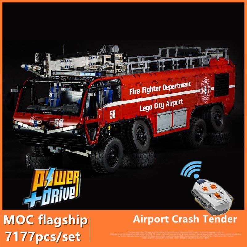 MOC flagship Fire Fighting MOC-4446 Airport Crash Tender Boat Building Blocks Crane City Firefighter Bricks Children Toys