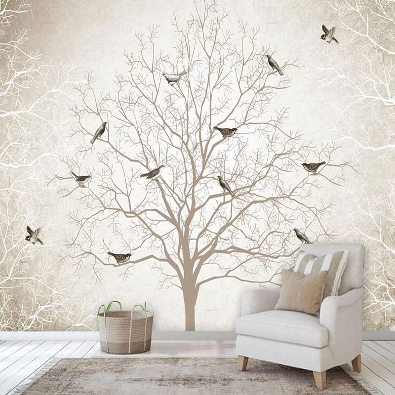 Custom Photo Wallpaper Retro Nostalgia Tree Branches Birds Murals Living Room TV Sofa Bedroom Home Decor Background Wall Fresco