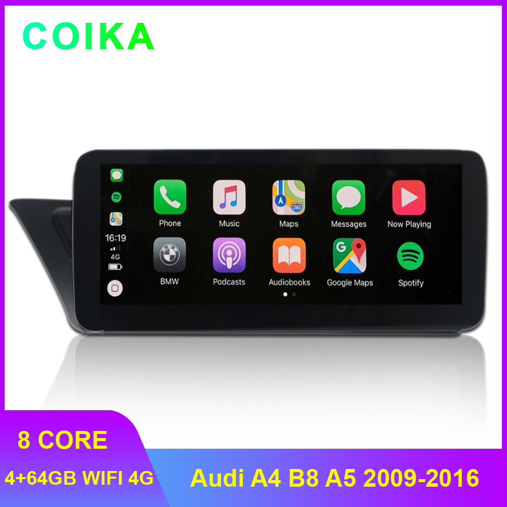 8 Core Android 9.0 System Car Stereo For Audi A4 B8 A5 2009-2016 WIFI 4G LTE Carplay 4+64GB RAM SWC IPS Touch Screen GPS Navi