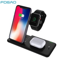 15W 4 in 1 Charging Dock Station For Apple Watch 5 4 3 2 AirPods Pro Fast Qi Wireless Charger Stand For iPhone 11 Pro XS XR X 8|Wireless Chargers| |  -