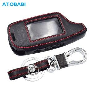 Image 1 - Оригинальный кожаный чехол для ключей для Pandora DXL 3000 3100 3170 3300 3210 3500 3700 два пути будильник машины Системы ЖК дисплей дистанционного Fob чехол сумка для ключей