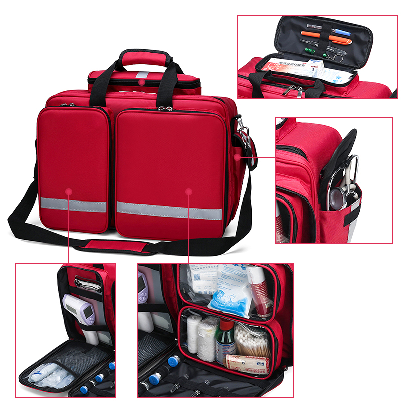 First Aid Medical Bag Isolation Multi-pocket Portable Messenger Nylon Bag Emergency Medical Rescue Safety Outdoors Family Travel