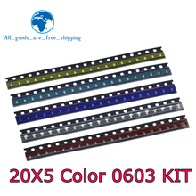 5 Colors x20 Pcs =100pcs SMD 0603 LED DIY Kit Super Bright Red/Green/Blue/Yellow/White Water Clear LED Light Diode Set