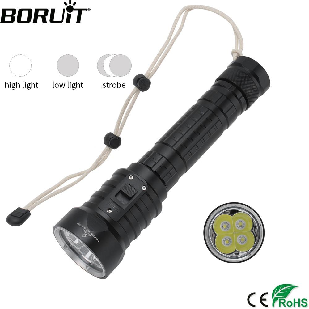 BORUiT DX4S Scuba Diving Flashlight 3000LM Original XM-L U2 LED Torch Super Powerful Flashlight 3-Mode Underwater 80M Lanterna