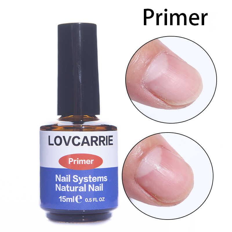 LOVCARRIE 15ML Paku Primer Digunakan Pengering Kuku Gel Base Coat Tahan Lama Asam Gratis Acrylic UV Gel Polandia Bonder untuk Kuku Seni