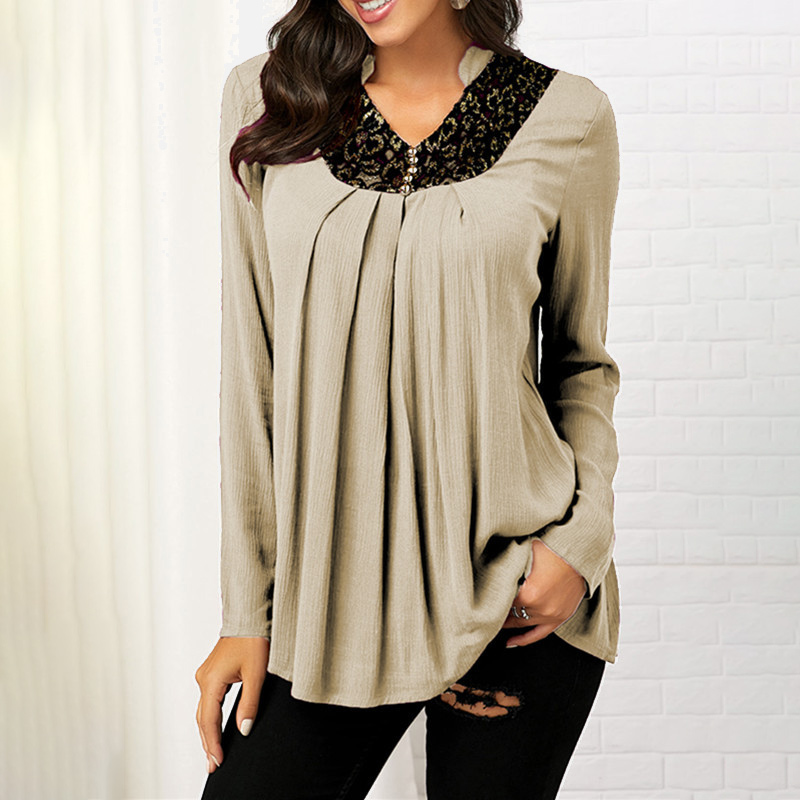 Plus Size 5XL V-neck Blouse Women's Tunic Long Sleeve Print Loose Female Blouses Tops 2020 Spring Summer Casual Tunics For Women