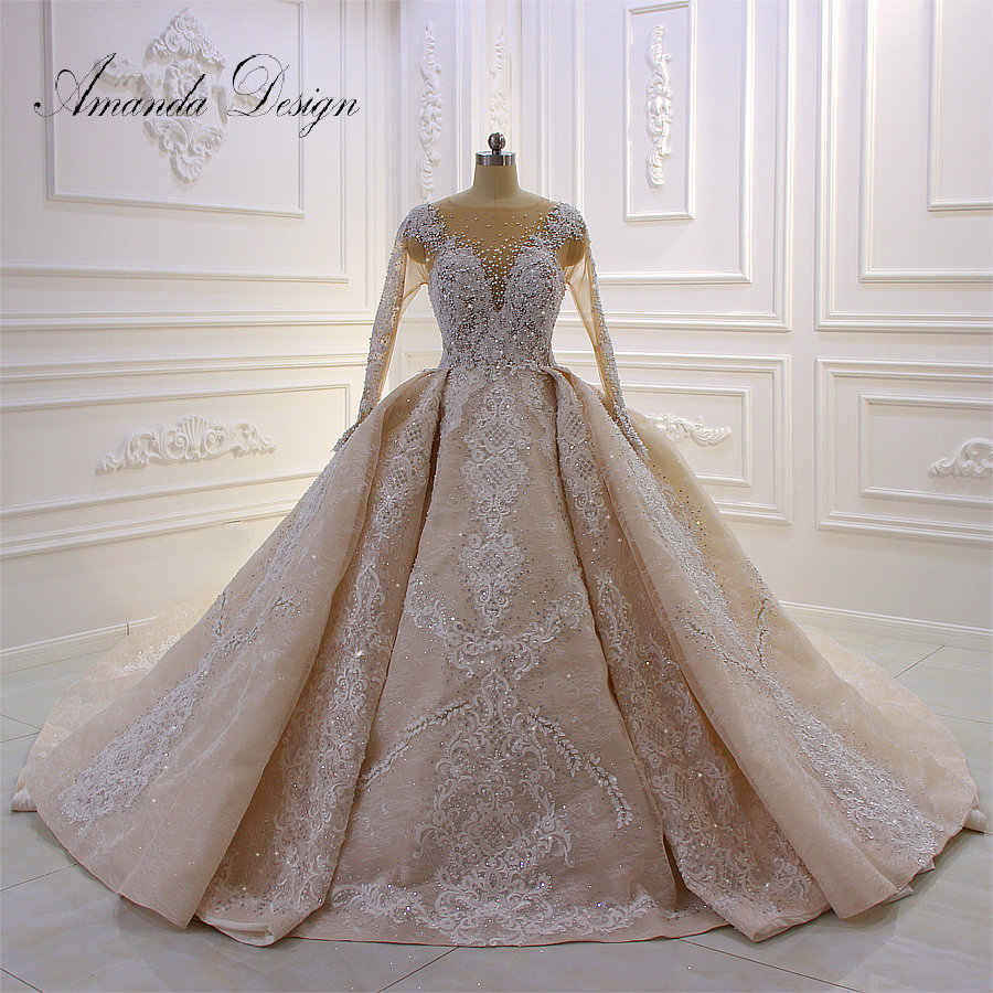 Amanda Design High Quality Customized Full Sleeve Lace Applique Handwork Wedding Dress