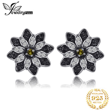 JPalace Natural Smoky Quartz Black Spinel Stud Earrings 925 Sterling Silver Earrings For Women Korean Earrings Fashion Jewelry
