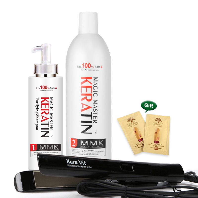 Brazilian keratin Free formalin 1000ml Magic Master Coconut Oil keratin treatment + 300ml purifying shampoo + Hair Flat Iron