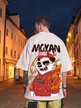 Tide Brand Hip-hop Oversize Hip-hop Half-sleeved Couple Hiphop Plus Size Loose Panda Short-sleeved T-shirt Male