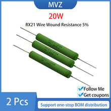 2PCS RX21 20W Wire Wound Resistência 5% Ohm 10R 40R 100R 120R 2K 100kohm