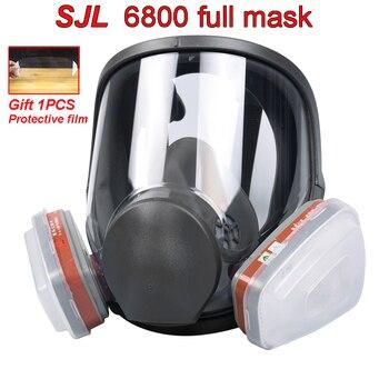 SJL ZW 6800 combinaison 7 pièces | Masque complet en gaz à grande vue, respirateur complet, peinture, masque de pulvérisation en Silicone