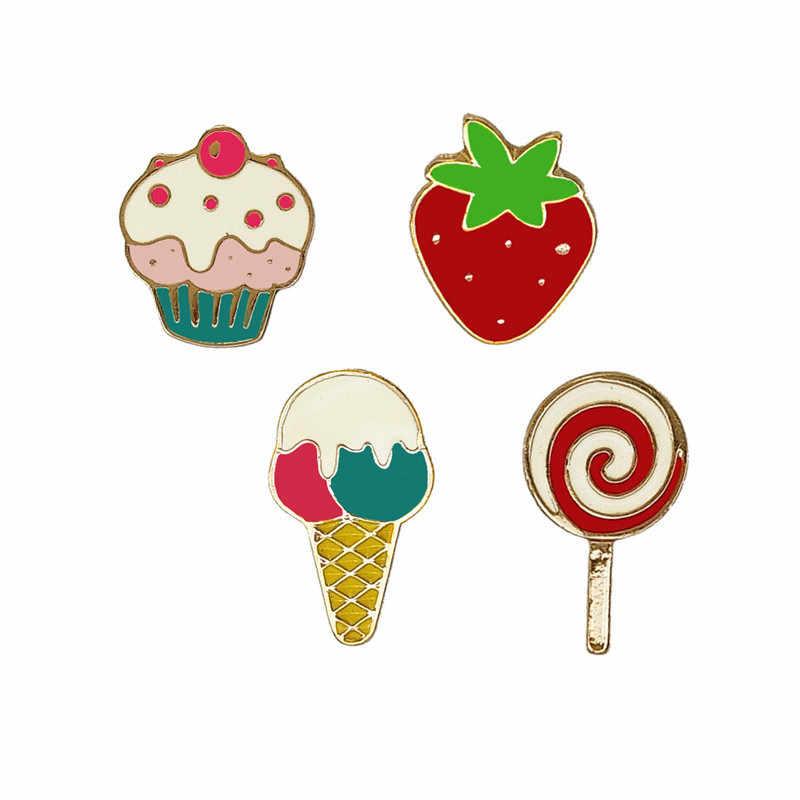 Bella Ice Cream Lollipop Torta di Fragole Vestiti Spilla Sciarpa Borsa Distintivo Dello Smalto Spille Da Dessert Spille Ragazze Regali Dei Monili