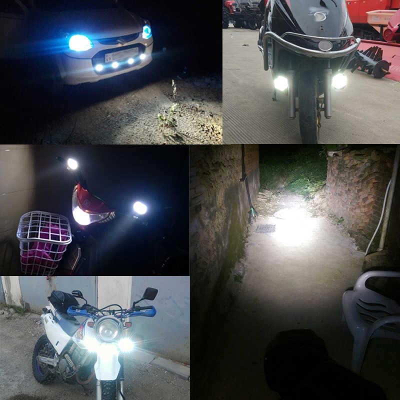 2 Pcs 8W LED Kerja Lampu Moto Sepeda Motor 6 LED Headlight Lampu Skuter Mobil Kabut Lampu Lampu Kerja Lampu Sorot 6000K Putih