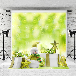 VinylBDS 5x7ft zielona fotografia świąteczna tło mała gwiazda bałwanek dzieci tło pierniki zdjęcie tła