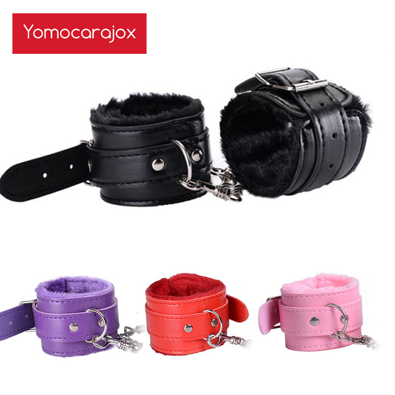 Yomocarajox Sexy Adjustable PU Leather Plush Handcuffs Ankle Cuff BDSM Bondage Sex Toy Restraints Exotic Accessories Adult Games