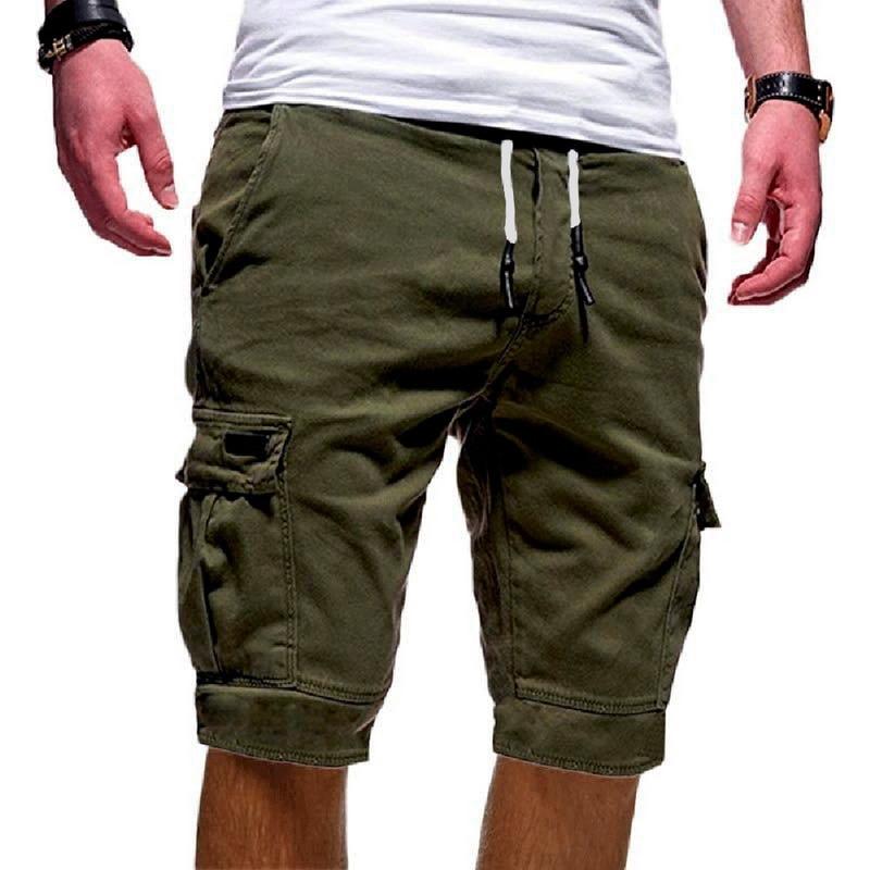 SHUJIN Summer Casual Shorts Men's  Cargo Multi-pocket Shorts Mens Solid Color Drawstring Fashion Shorts Streetwear