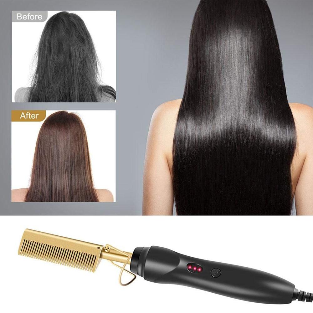 Hair Straightening Brush Straightener Flat Irons Hot Heating Comb Hair Straight Styler Corrugation Curling Iron Hair Curler Comb