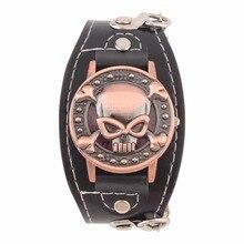 Schädel Abdeckung Quarzuhr für Männer Frauen PU leder Armbanduhren Armband Uhr männer Biker Metall uhren für dropshipping