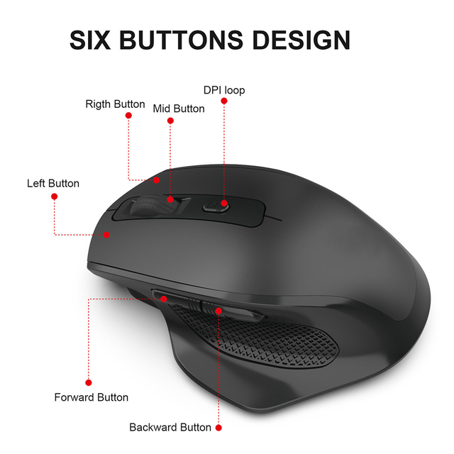 Mouse Wireless ricaricabile SeenDa 2.4G 6 pulsanti Mouse da gioco per Gamer Laptop ricevitore USB Desktop clic silenzioso Mause muto 2