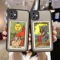 Sonne Mond Sterne Tarot Phone Cases Für iPhone 6 6S 7 8 Plus X XR XS 11 12 Pro max Mini SE 2020 Fest Durchsichtigen Kunststoff TPU Rahmen Fall
