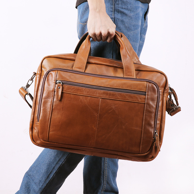 Men Full Grain Leather Business Briefcase Large Capacity 17 Inch Laptop Bags Genuine Cow Leather Tote Mens Messenger Bags