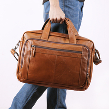 Men Full Grain Leather Business Briefcase Large Capacity 17 Inch Laptop