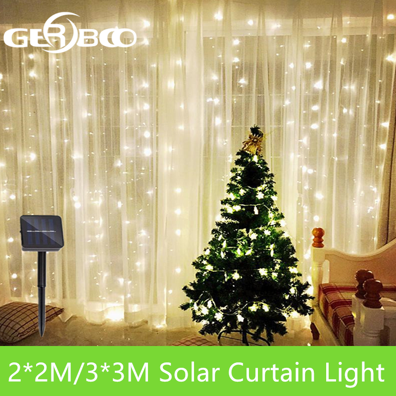3x3/2x2m Solar LED Icicle String Lights Christmas Fairy Lights Garland Outdoor Home For Wedding/Party/Curtain/Garden Decoration
