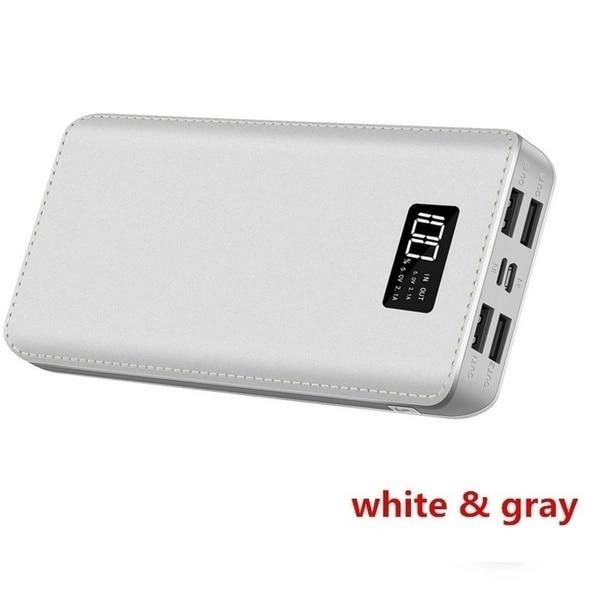 Xiaomi горячая Распродажа 30000 мАч Внешний аккумулятор 4 USB порта с двойным входным портом цифровой дисплей портативное зарядное устройство Аксессуары для мобильных телефонов - Цвет: White-20000mAh