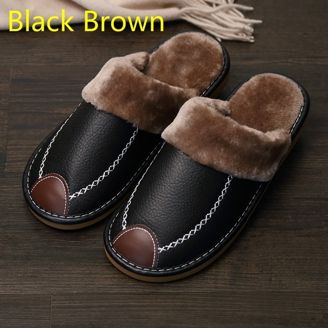 Men Slippers Black New Winter PU Leather Slippers Warm Indoor Slipper Waterproof Home House Shoes Women Warm Leather Slippers 1