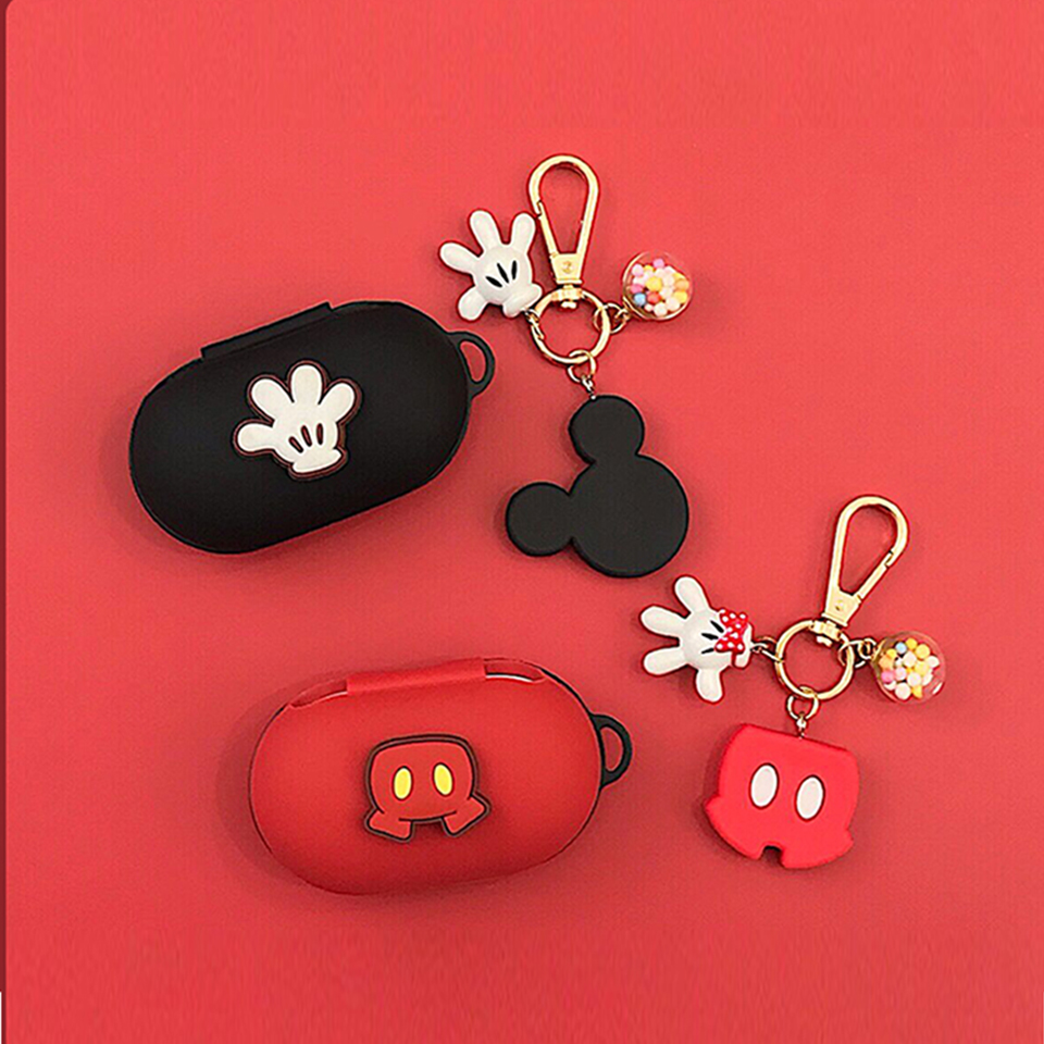 DIY 3D Cute Silicone Case For Samsung Galaxy Buds 2019 Charging Sleeve Protective Case Bluetooth Earphone Skin Keyring Pendant