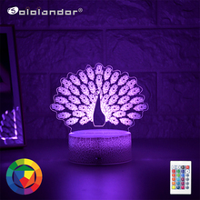 Newest Kid Light Night 3D LED Night Light Creative Table Bedside Lamp Romantic Peacock light Kids Gril Home Decoration Gift